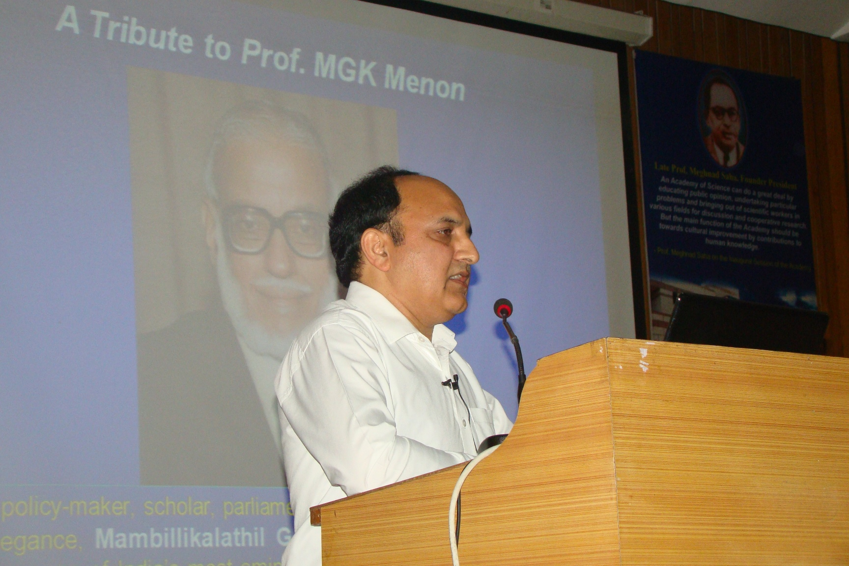 Professor MGK Menon Lecture Award to Dr. T.R. Sharma